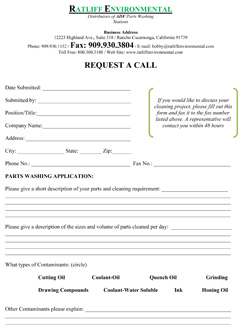 RATLIFF ENVIRONMENTAL will be pleased to supply a recommendation and/or Request A Call.   Please complete the following form and forward to us.